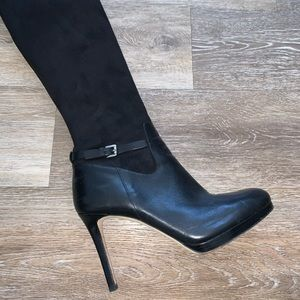 Black suede and leather Michael Kors heeled boots